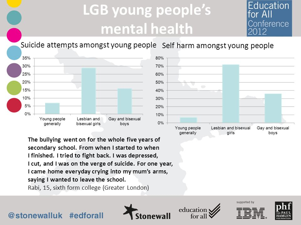 LGB young peoples mental health Self harm amongst young people Suicide attempts amongst young people The bullying went on for the whole five years of