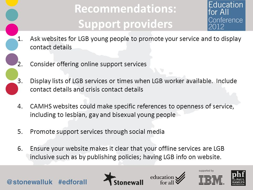 Recommendations: Support providers 1.Ask websites for LGB young people to promote your service and to display contact details 2.Consider offering onli