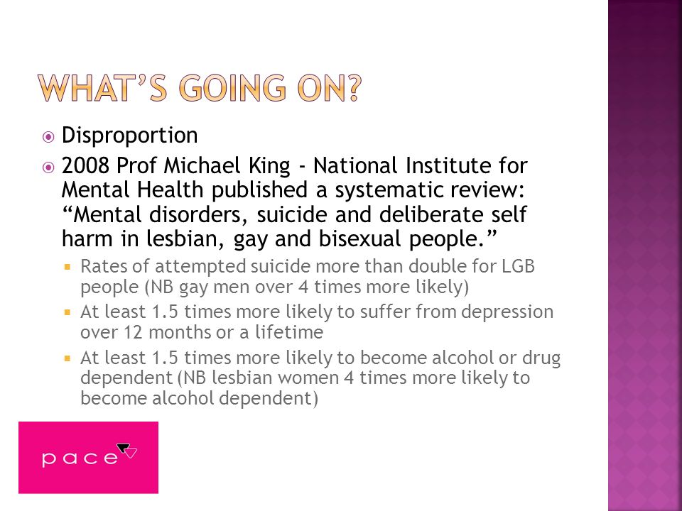 LGB people are at significantly higher risk of mental disorder, suicidal ideation, substance misuse, and DSH than heterosexual people.