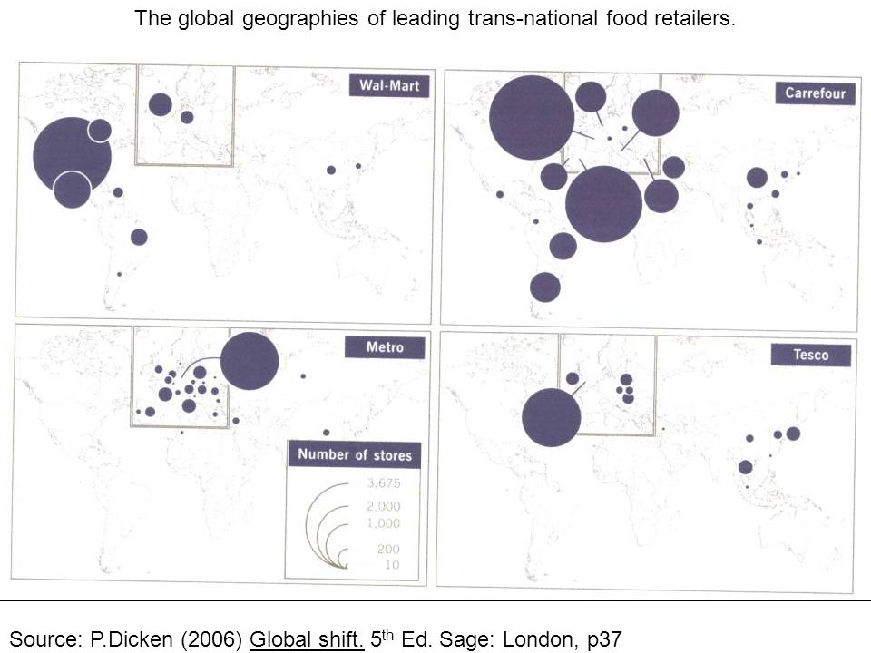 The global geographies of leading trans-national food retailers.