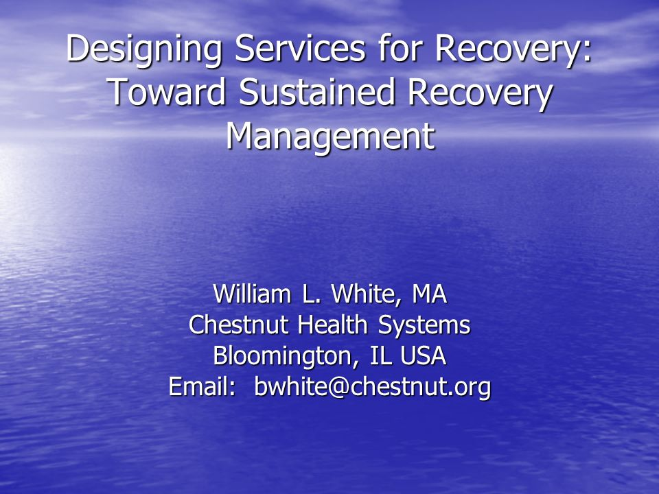 The Chronic Care Model Vision: medication-assisted metabolic stabilization for chronic opioid dependence as a foundation for long-term biopsychosocial recovery Model Deterioration: dosing with inadequate clinical & peer recovery support for psychosocial rehabilitation and & community re-integration Focus: what is subtracted/reduced (drug-related problems, crime, disease risk/transmission) from clients life rather than what is added (e.g., global personal/family health, productivity, life meaning/purpose, citizenship and service)