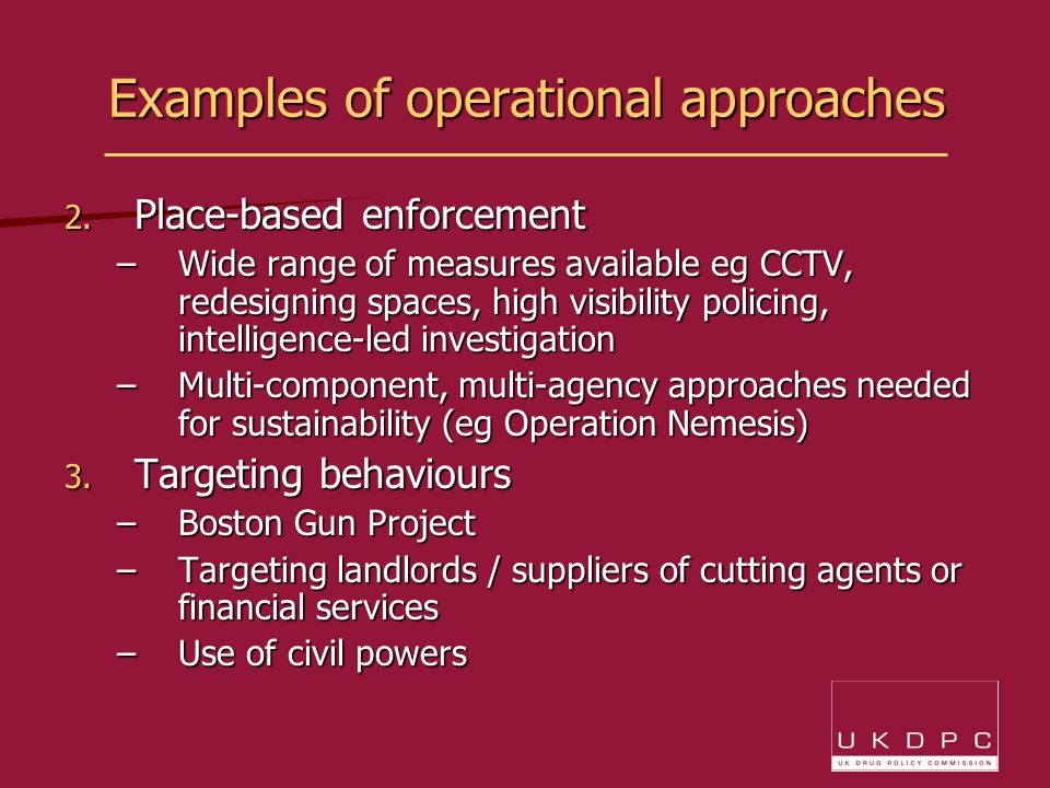 Examples of operational approaches 2.