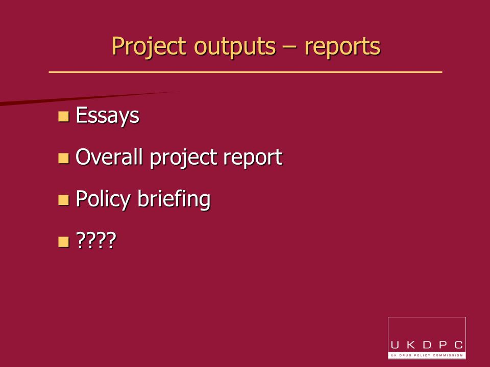 Project outputs – reports Essays Essays Overall project report Overall project report Policy briefing Policy briefing ???.