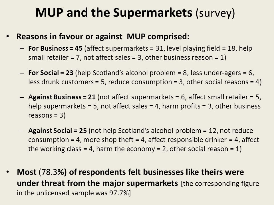 MUP and the Supermarkets (survey) Reasons in favour or against MUP comprised: – For Business = 45 (affect supermarkets = 31, level playing field = 18, help small retailer = 7, not affect sales = 3, other business reason = 1) – For Social = 23 (help Scotlands alcohol problem = 8, less under-agers = 6, less drunk customers = 5, reduce consumption = 3, other social reasons = 4) – Against Business = 21 (not affect supermarkets = 6, affect small retailer = 5, help supermarkets = 5, not affect sales = 4, harm profits = 3, other business reasons = 3) – Against Social = 25 (not help Scotlands alcohol problem = 12, not reduce consumption = 4, more shop theft = 4, affect responsible drinker = 4, affect the working class = 4, harm the economy = 2, other social reason = 1) Most (78.3%) of respondents felt businesses like theirs were under threat from the major supermarkets [the corresponding figure in the unlicensed sample was 97.7%]