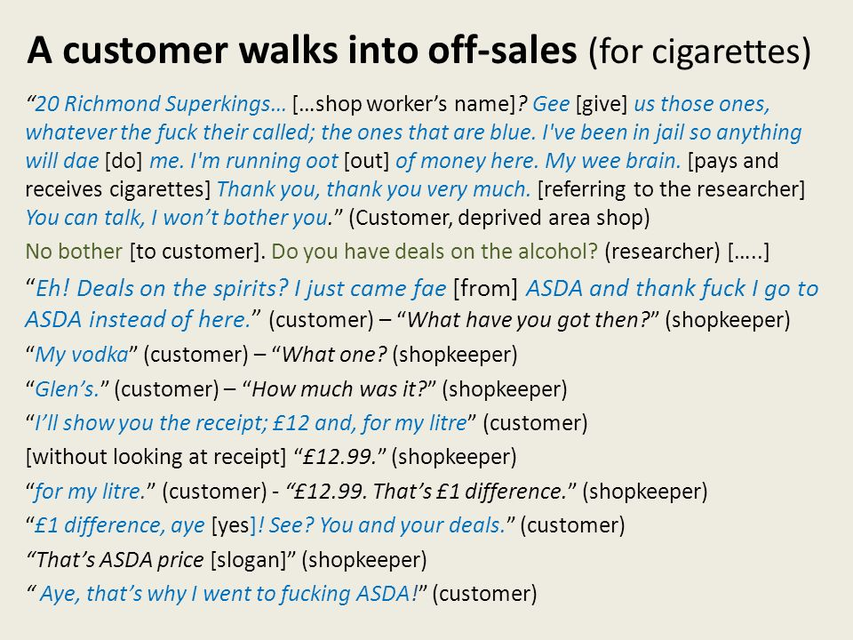 A customer walks into off-sales (for cigarettes) 20 Richmond Superkings… […shop workers name].