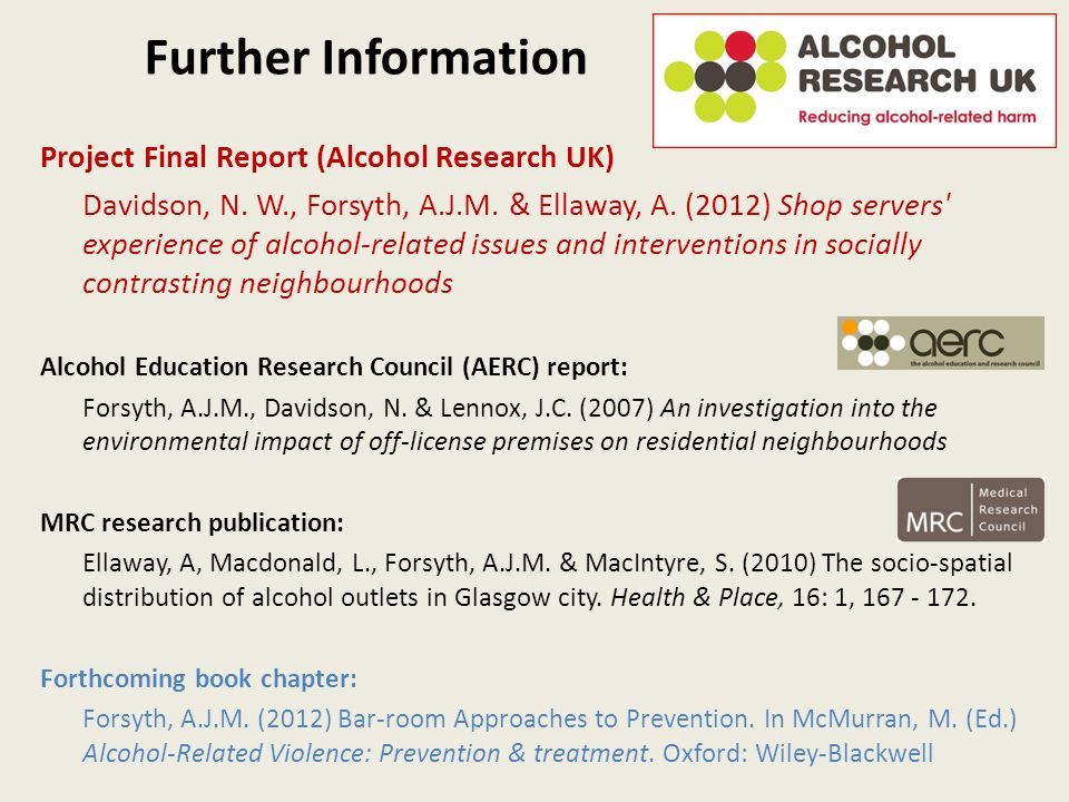 Further Information Project Final Report (Alcohol Research UK) Davidson, N.