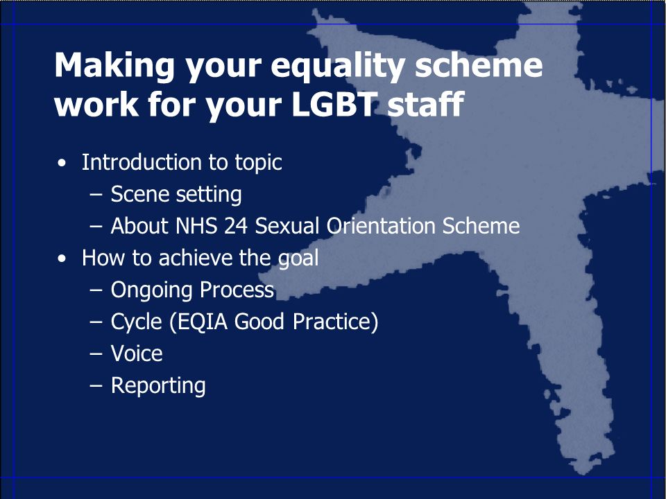 Making your equality scheme work for your LGBT staff Introduction to topic –Scene setting –About NHS 24 Sexual Orientation Scheme How to achieve the goal –Ongoing Process –Cycle (EQIA Good Practice) –Voice –Reporting