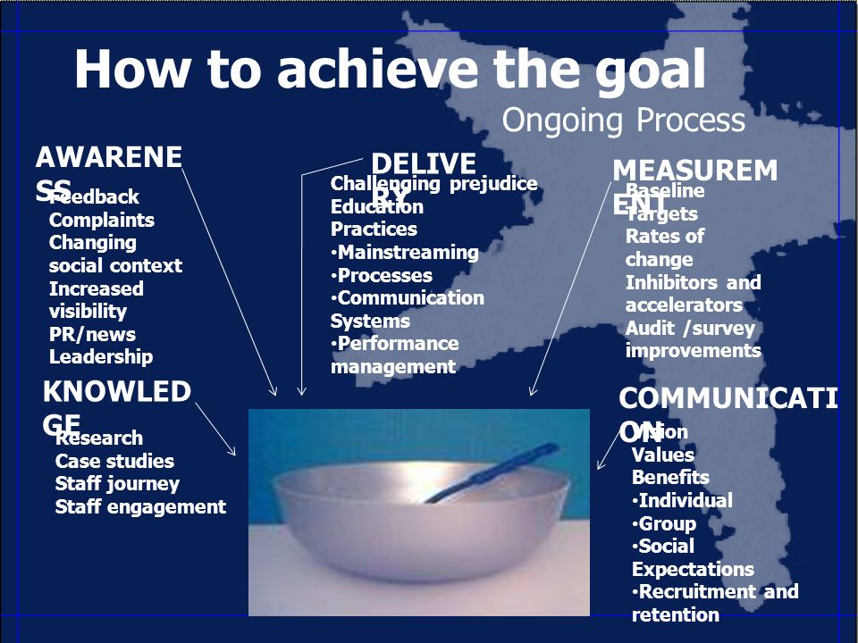 How to achieve the goal Ongoing Process AWARENE SS KNOWLED GE DELIVE RY MEASUREM ENT Feedback Complaints Changing social context Increased visibility PR/news Leadership Research Case studies Staff journey Staff engagement Challenging prejudice Education Practices Mainstreaming Processes Communication Systems Performance management Baseline Targets Rates of change Inhibitors and accelerators Audit /survey improvements Vision Values Benefits Individual Group Social Expectations Recruitment and retention COMMUNICATI ON