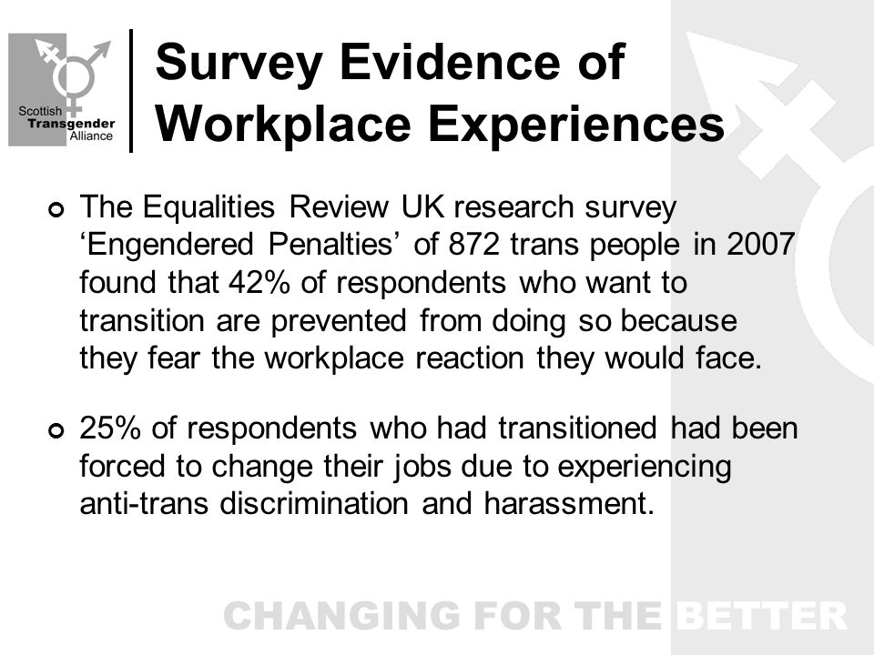 CHANGING FOR THE BETTER Survey Evidence of Workplace Experiences The Equalities Review UK research survey Engendered Penalties of 872 trans people in 2007 found that 42% of respondents who want to transition are prevented from doing so because they fear the workplace reaction they would face.