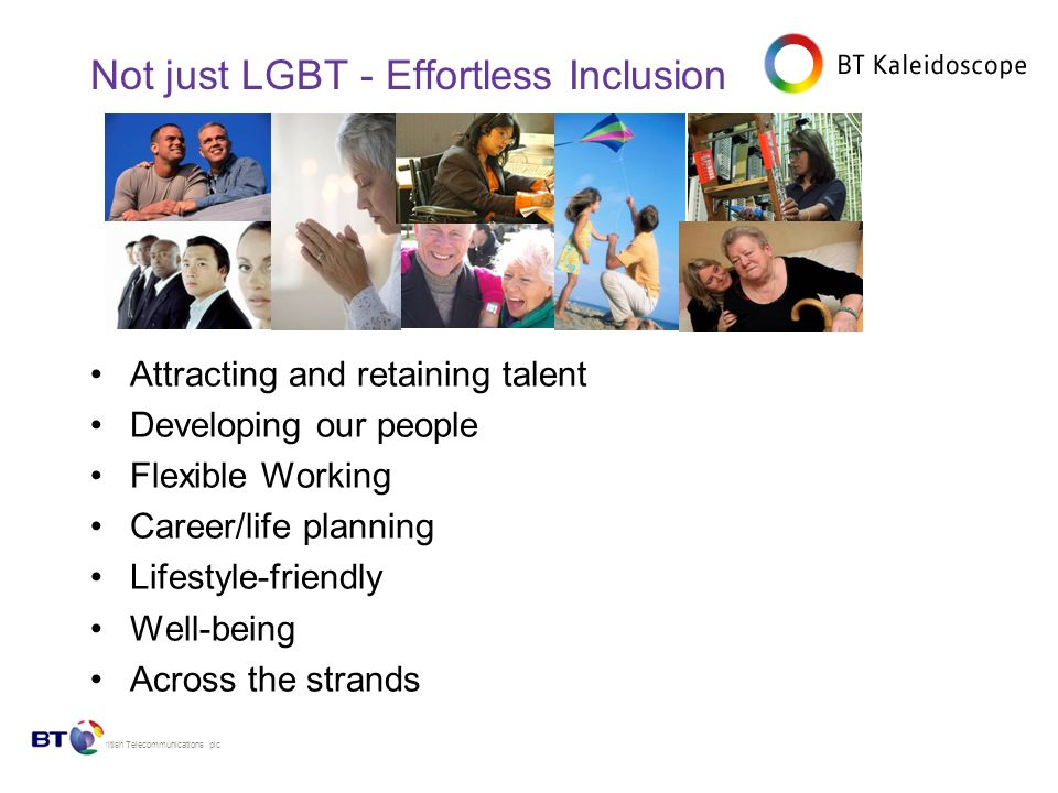 © British Telecommunications plc Not just LGBT - Effortless Inclusion Attracting and retaining talent Developing our people Flexible Working Career/life planning Lifestyle-friendly Well-being Across the strands