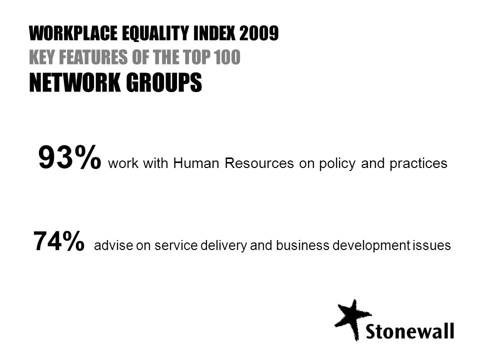 93% work with Human Resources on policy and practices 74% advise on service delivery and business development issues WORKPLACE EQUALITY INDEX 2009 KEY FEATURES OF THE TOP 100 NETWORK GROUPS