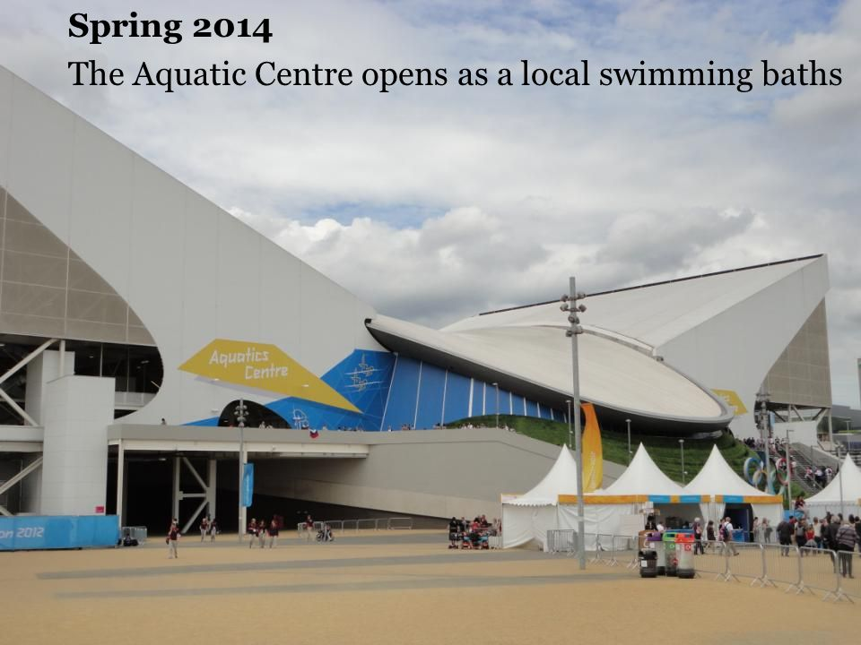 Spring 2014 The Aquatic Centre opens as a local swimming baths