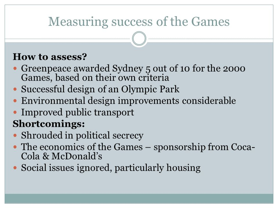 Measuring success of the Games How to assess.