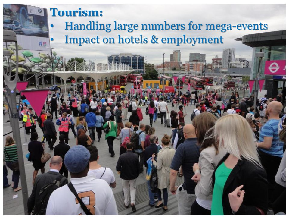 Tourism: Handling large numbers for mega-events Handling large numbers for mega-events Impact on hotels & employment Impact on hotels & employment