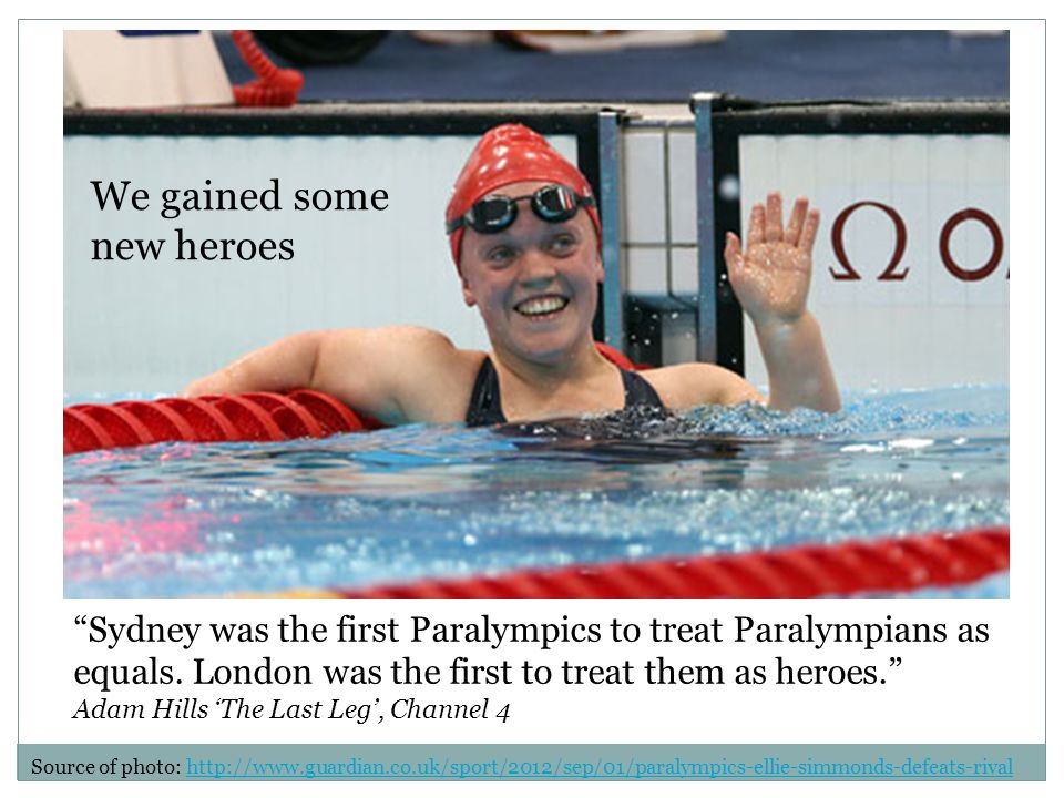 Sydney was the first Paralympics to treat Paralympians as equals.