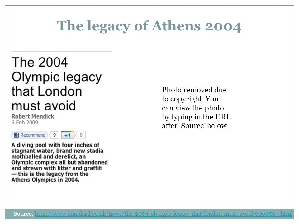 The legacy of Athens 2004 Source:   Photo removed due to copyright.