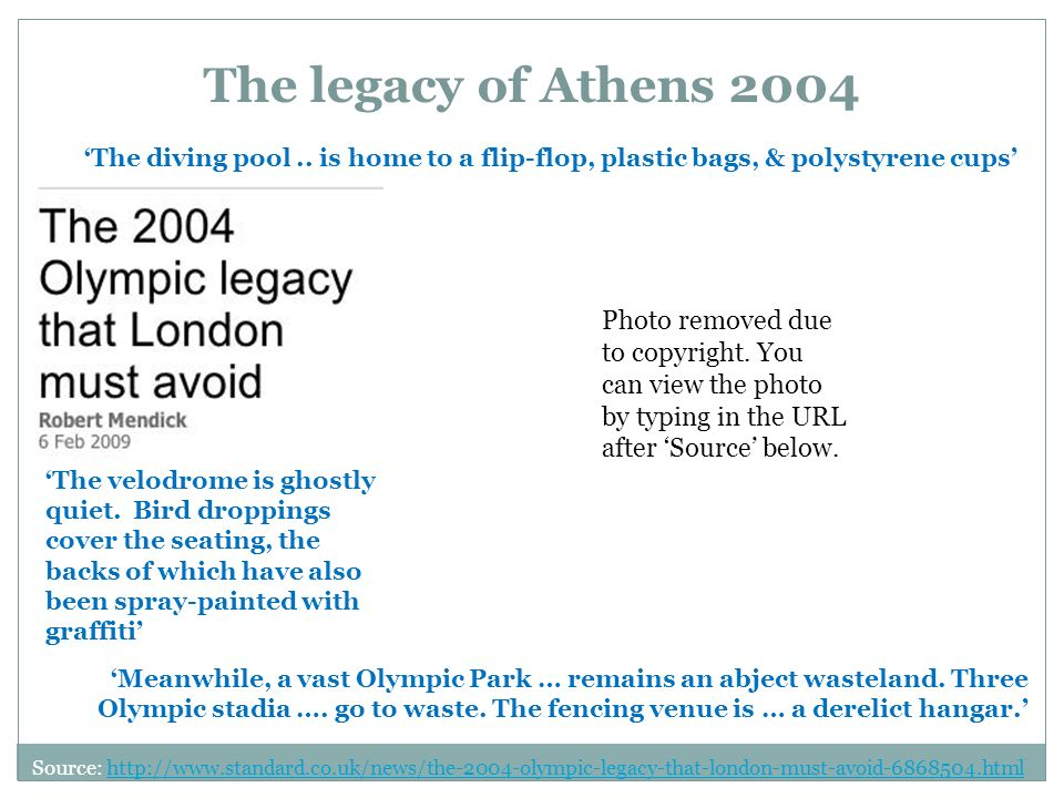 The legacy of Athens 2004 The diving pool..