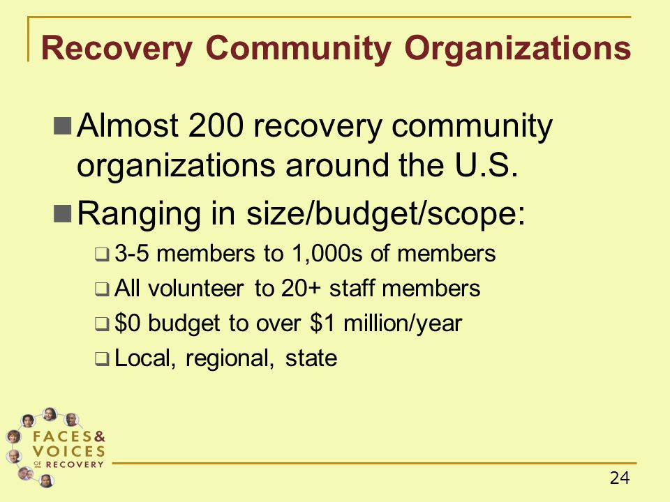 24 Almost 200 recovery community organizations around the U.S.