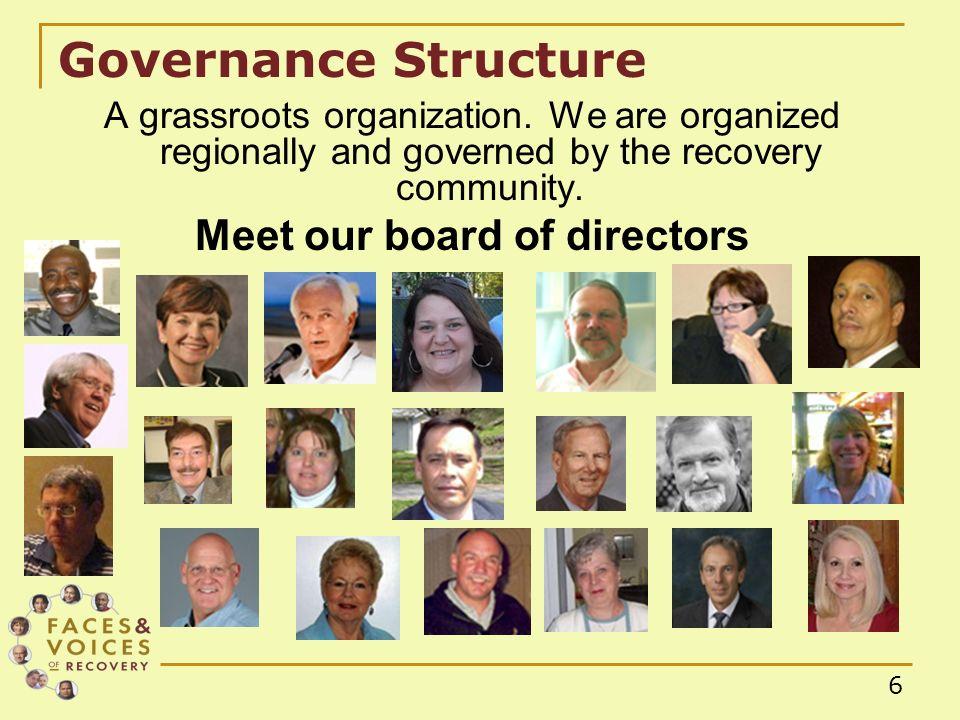 6 Governance Structure A grassroots organization.