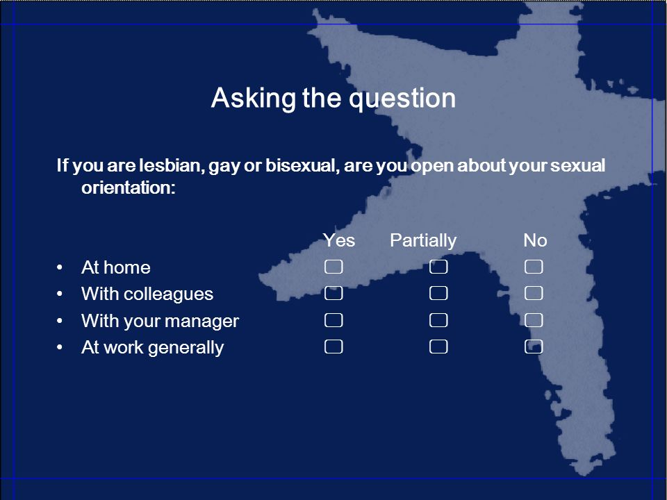 Asking the question If you are lesbian, gay or bisexual, are you open about your sexual orientation: YesPartiallyNo At home With colleagues With your manager At work generally
