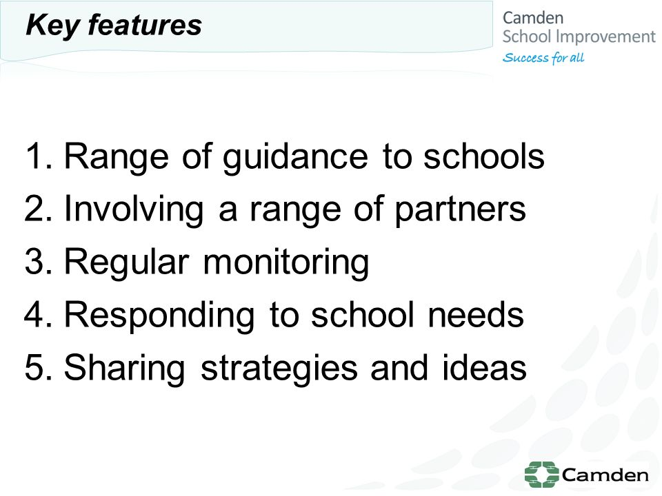 1.Range of guidance to schools 2.Involving a range of partners 3.Regular monitoring 4.Responding to school needs 5.Sharing strategies and ideas Key features