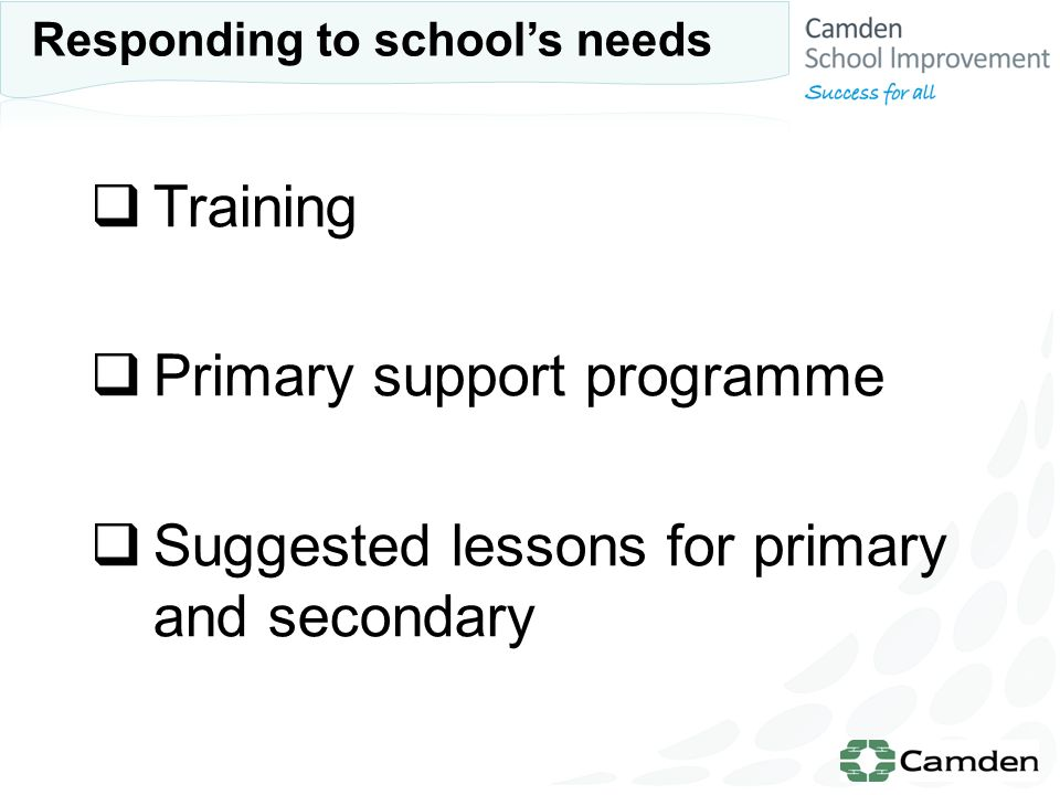 Training Primary support programme Suggested lessons for primary and secondary Responding to schools needs