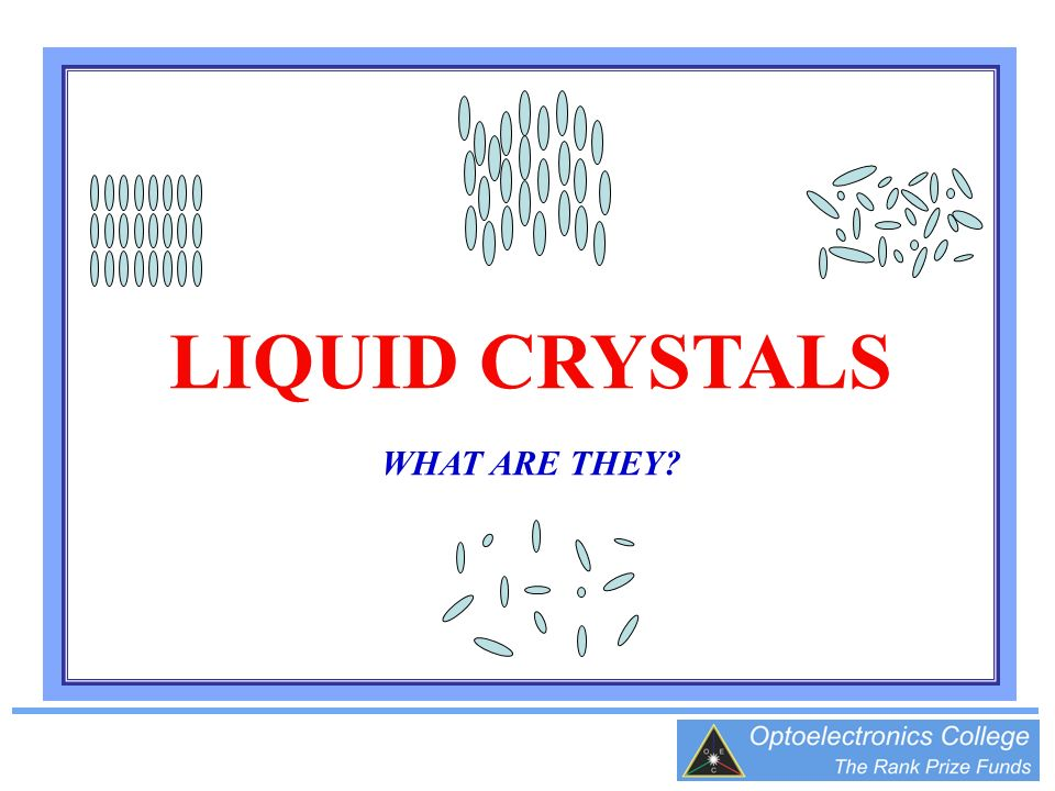 LIQUID CRYSTALS WHAT ARE THEY?