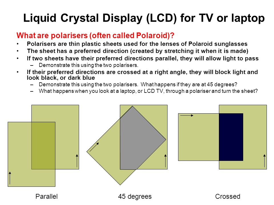 Liquid Crystal Display (LCD) for TV or laptop What are polarisers (often called Polaroid)? Polarisers are thin plastic sheets used for the lenses of P