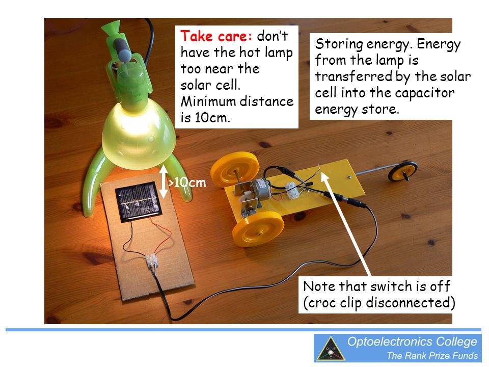 Storing energy. Energy from the lamp is transferred by the solar cell into the capacitor energy store. Note that switch is off (croc clip disconnected