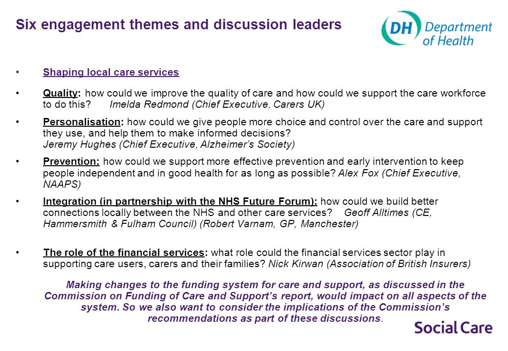 Six engagement themes and discussion leaders Shaping local care services Quality: how could we improve the quality of care and how could we support the care workforce to do this.