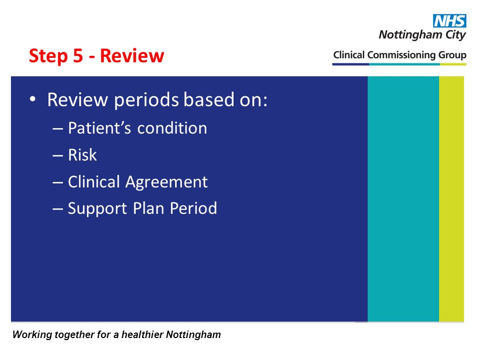 Working together for a healthier Nottingham Step 5 - Review Review periods based on: – Patients condition – Risk – Clinical Agreement – Support Plan Period
