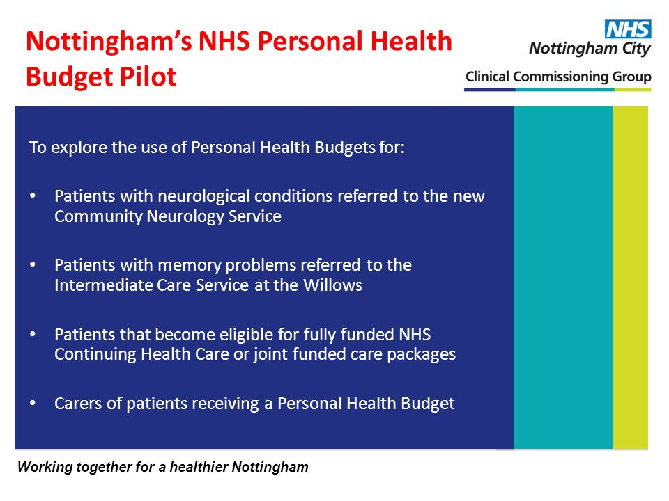Working together for a healthier Nottingham Nottinghams NHS Personal Health Budget Pilot To explore the use of Personal Health Budgets for: Patients with neurological conditions referred to the new Community Neurology Service Patients with memory problems referred to the Intermediate Care Service at the Willows Patients that become eligible for fully funded NHS Continuing Health Care or joint funded care packages Carers of patients receiving a Personal Health Budget