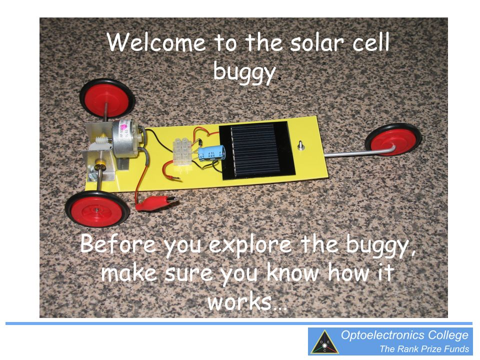 The motor and drive mechanism The solar cell A capacitor is used to store energy The croc clip switch (shown in the switch off position)