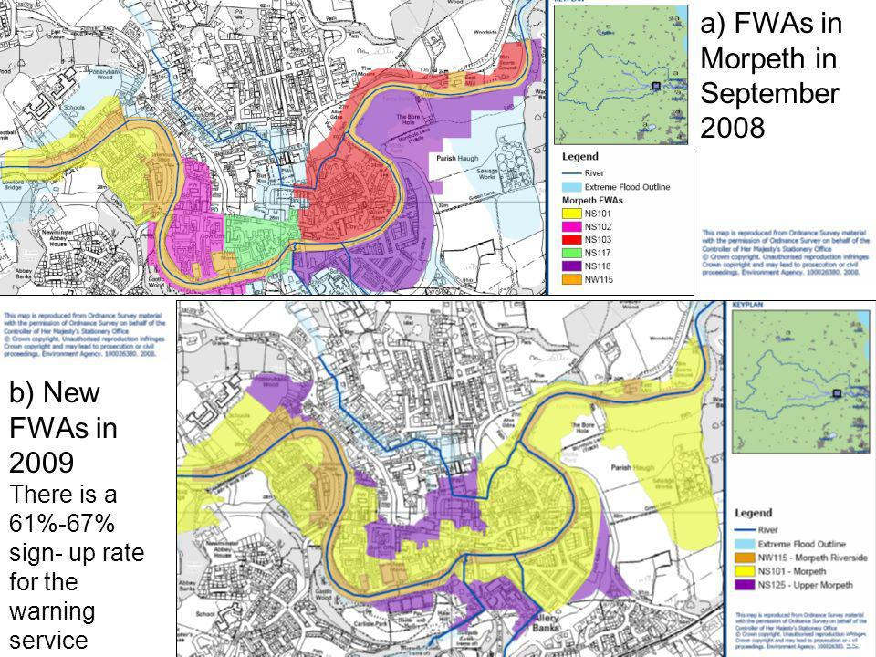 b) New FWAs in 2009 There is a 61%-67% sign- up rate for the warning service a) FWAs in Morpeth in September 2008 14