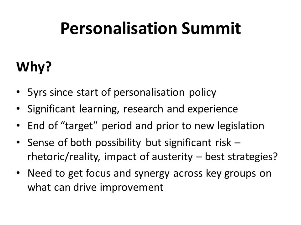 Personalisation Summit Why.