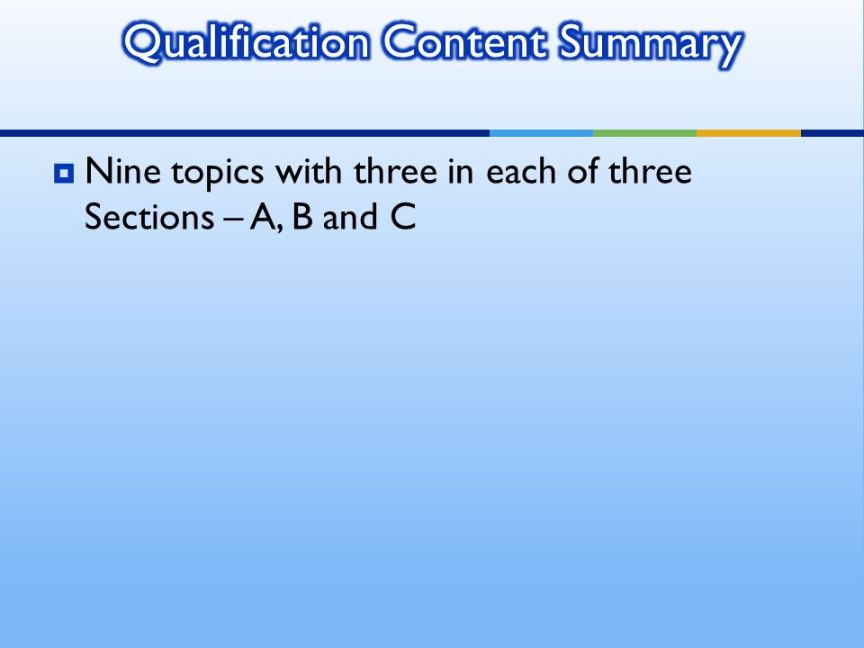 Nine topics with three in each of three Sections – A, B and C