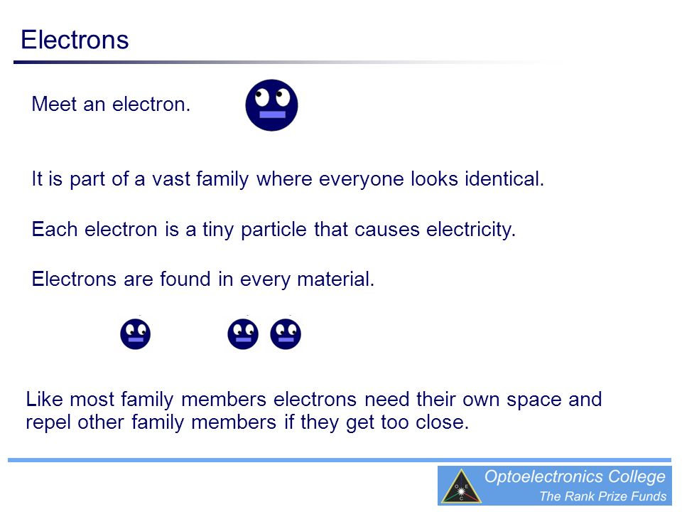 Meet an electron. It is part of a vast family where everyone looks identical. Each electron is a tiny particle that causes electricity. Electrons are