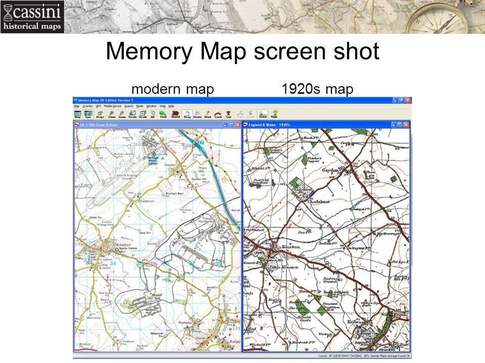 Memory Map screen shot modern map 1920s map