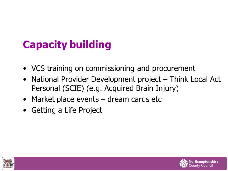 Capacity building VCS training on commissioning and procurement National Provider Development project – Think Local Act Personal (SCIE) (e.g. Acquired