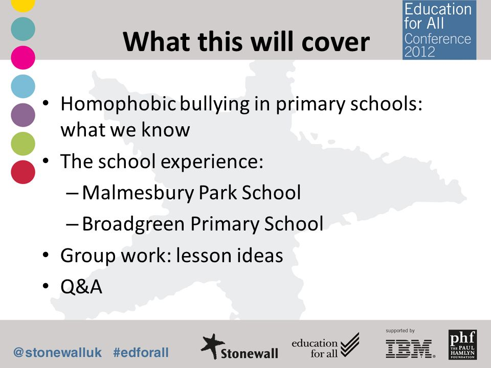 What this will cover Homophobic bullying in primary schools: what we know The school experience: – Malmesbury Park School – Broadgreen Primary School