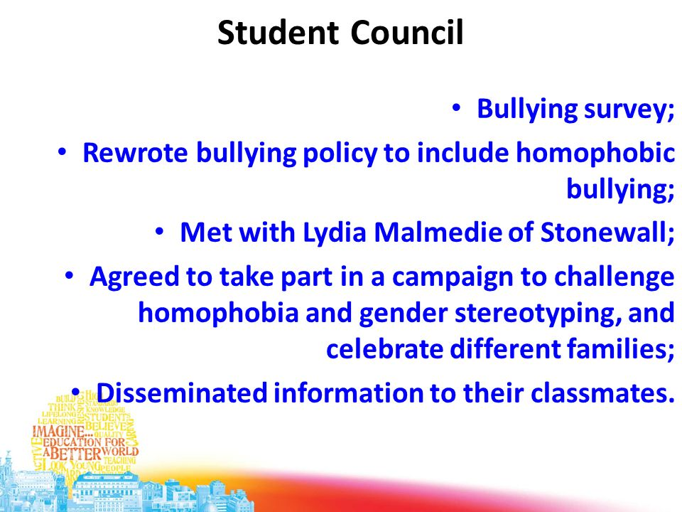 Student Council Bullying survey; Rewrote bullying policy to include homophobic bullying; Met with Lydia Malmedie of Stonewall; Agreed to take part in