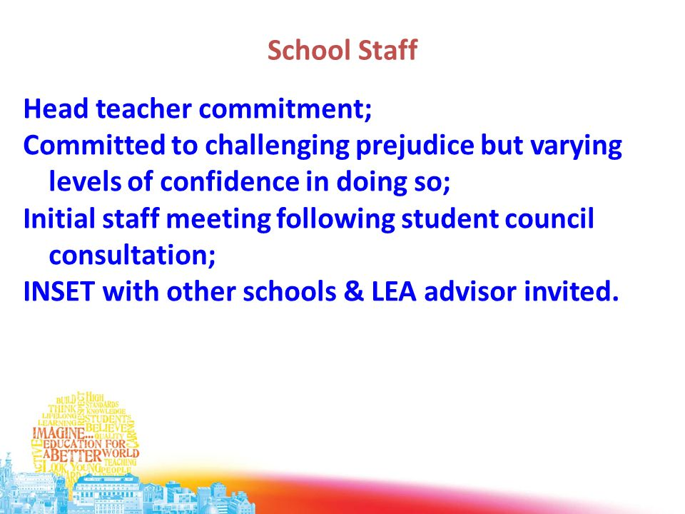 School Staff Head teacher commitment; Committed to challenging prejudice but varying levels of confidence in doing so; Initial staff meeting following