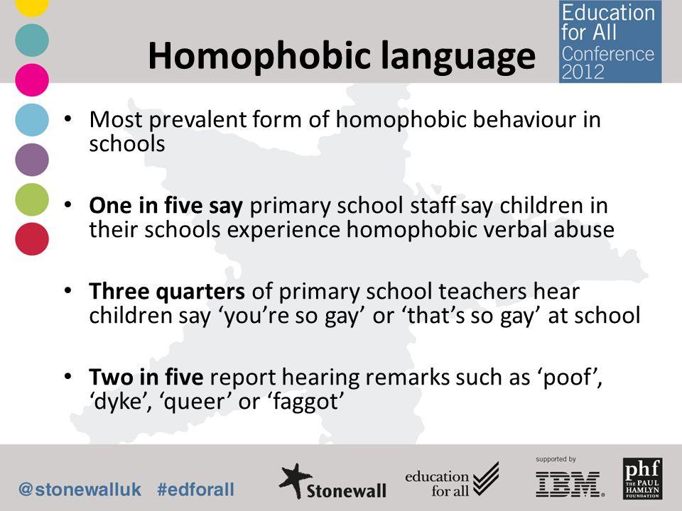 Homophobic language Most prevalent form of homophobic behaviour in schools One in five say primary school staff say children in their schools experien