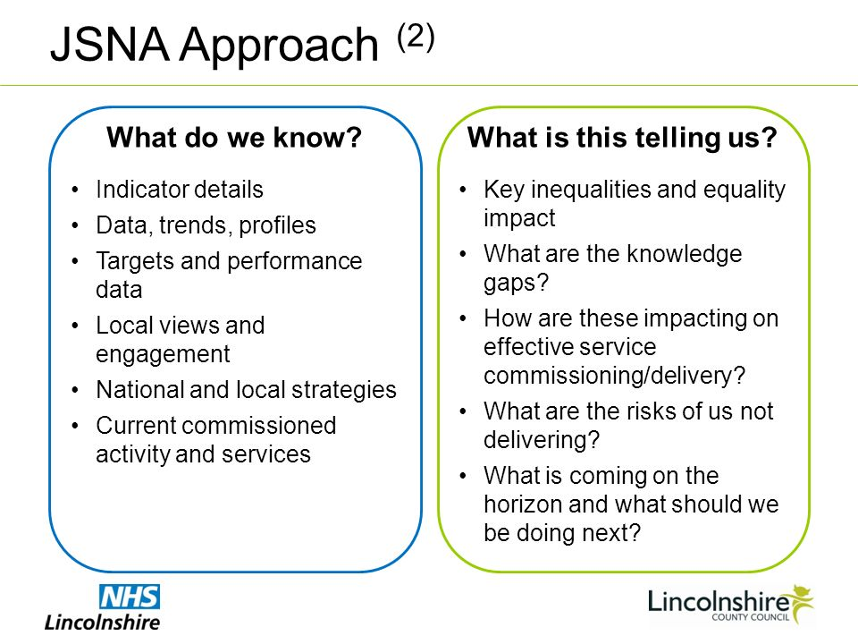 JSNA Approach (2) What do we know.