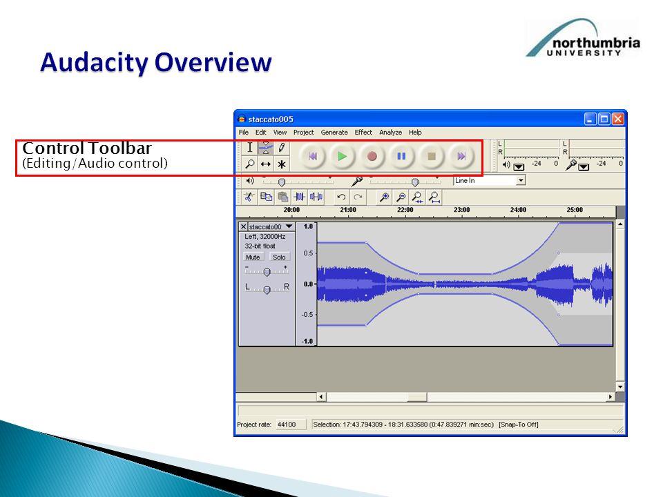 Control Toolbar (Editing/Audio control)