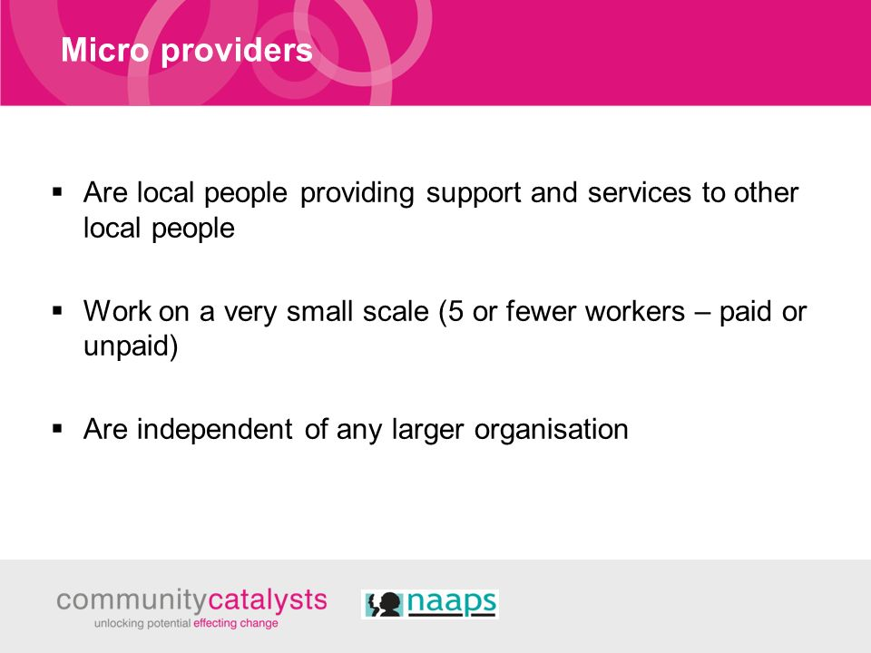 Micro providers Are local people providing support and services to other local people Work on a very small scale (5 or fewer workers – paid or unpaid)