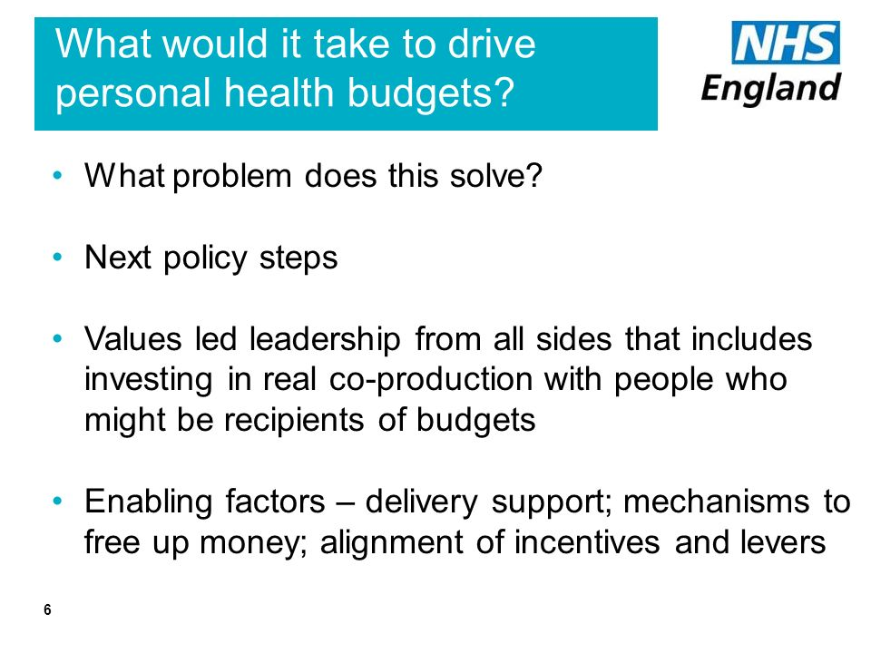 6 What would it take to drive personal health budgets.