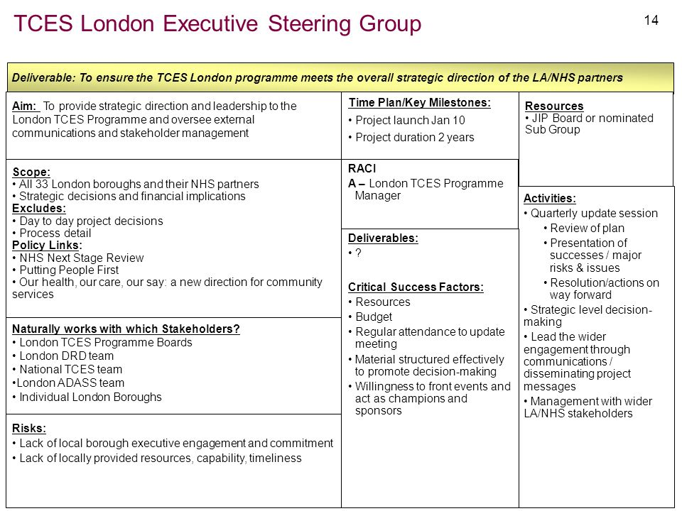 14 TCES London Executive Steering Group Deliverable: To ensure the TCES London programme meets the overall strategic direction of the LA/NHS partners