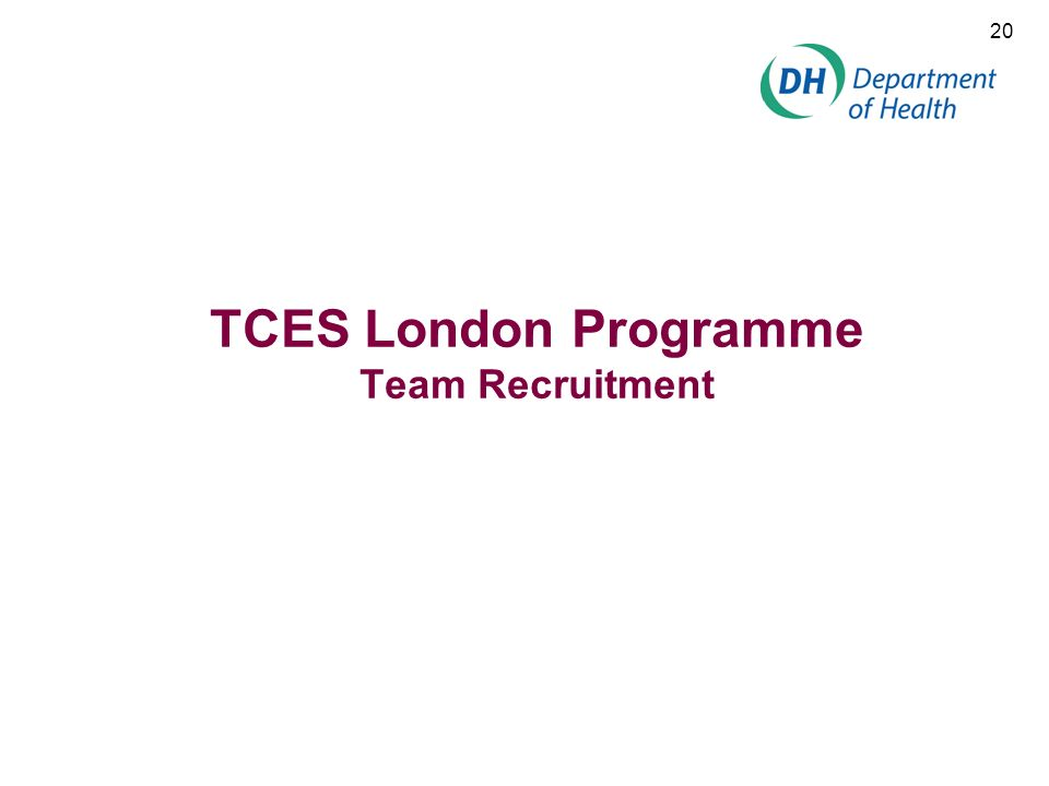 20 TCES London Programme Team Recruitment