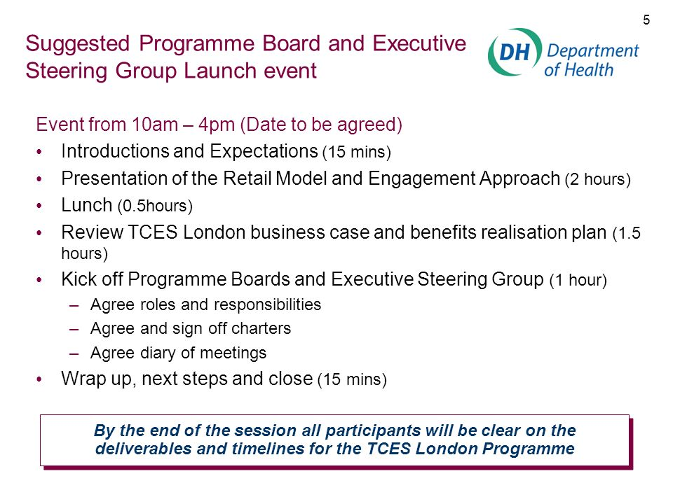 16 TCES London Programme Manager Deliverable: Structure, plans, systems and tools in place to manage programme within timeline Naturally works with which Stakeholders.